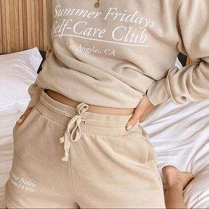 Summer Fridays self care club sweat shorts